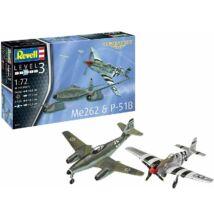 Revell 1:72 Messerschmitt Me262 & P-51B Mustang Combat Set repülő makett
