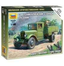 Zvezda 1:100 Soviet Military 3-ton Truck harcijármű makett