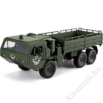 Valósághű katonai távirányítós teherautó 44cm JJRC Q75 6WD olajzöld