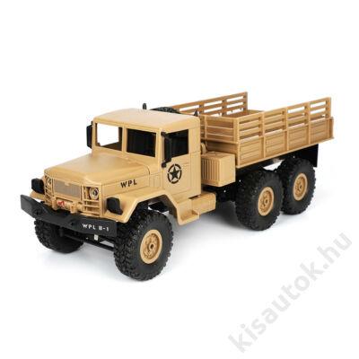 Élethű katonai távirányítós teherautó 35cm WPL B16 sivatagi