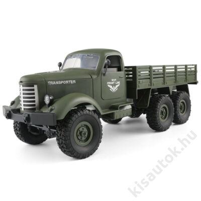 Valósághű katonai ZIL 150 távirányítós teherautó 41cm JJRC Q60 6WD olajzöld