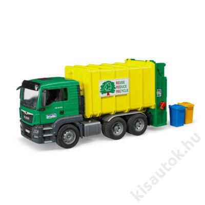 Bruder MAN TGS Szemeteskocsi, zöld/sárga
