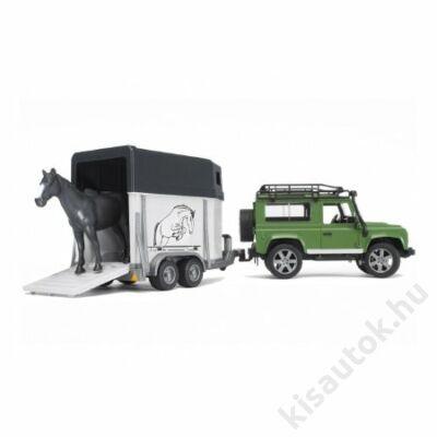 Bruder Land Rover Defender lószállítóval és lóval