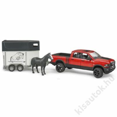 Bruder RAM 2500 Pickup Truck Power Wagon lószállitó utánfutóval