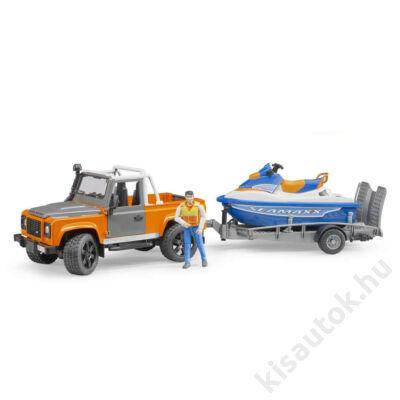 Bruder Land Rover Defender Pick up Jet Ski szállító utánfutóval, emberrel