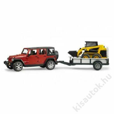 Bruder Jeep Wrangler Unlimited Rubicon utánfutóval és CAT mini rakodóval