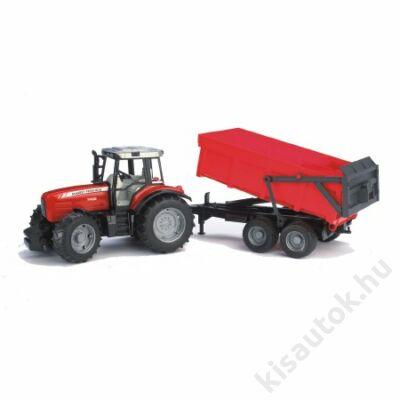 Bruder Massey Ferguson 7480 traktor billenős pótkocsival