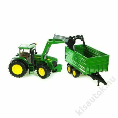 Bruder John Deere 7930 traktor homlokrakodóval, pótkocsival