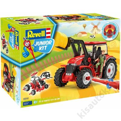 Revell 1:20 Traktor homlokrakodóval és figurával JUNIOR KIT munkagép makett