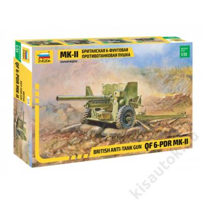 Zvezda 1:35 British Anti-Tank Gun QF 6-PDR MK-II tank makett