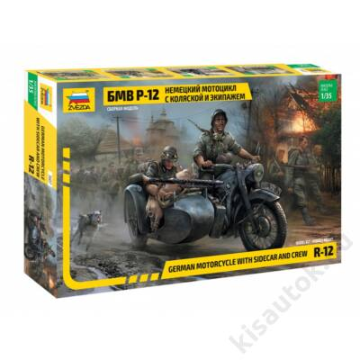 Zvezda 1:35 BMW R-12 German Motorcycle with Sidecar and Crew
