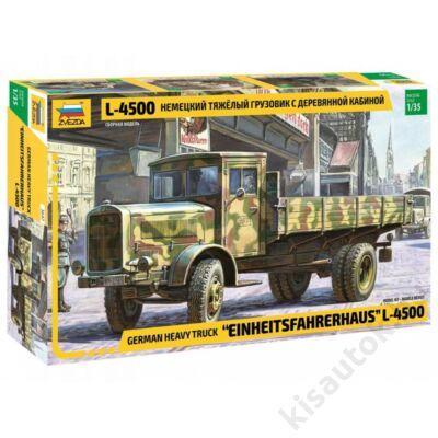 "Zvezda 1:35 German heavy truck ""Einheitsfahrerhaus"" L-4500 harcijármű makett"