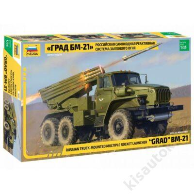 "Zvezda 1:35 Russian Truck-Mounted Multiple Rocket Launcher ""Grad"" BM-21 harcijármű makett"