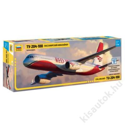 Zvezda 1:144 Civil Airliner Tu-204-100 repülő makett