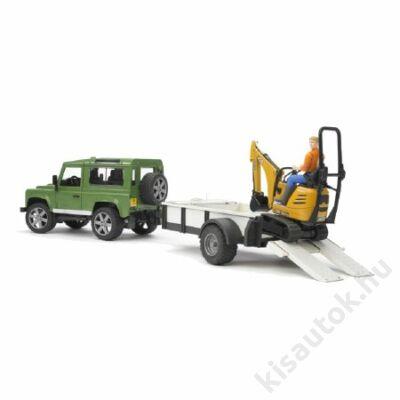 Bruder Land Rover Defender egytengelyű utánfutóval és JCB markolóval