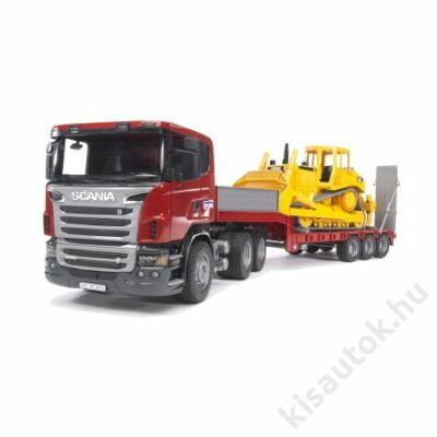 Bruder SCANIA R-szériás alacsony-rakodó teherautó CAT bulldózerrel