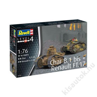 Revell 1:76 Char B.1 bis + Renault FT.17