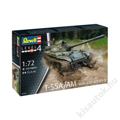 Revell 1:72 T-55A/AM with KMT-6/EMT-5 tank makett