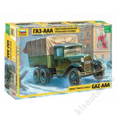 Zvezda 1:35 Soviet Truck (3-Axle) GAZ-AAA harcijármű makett