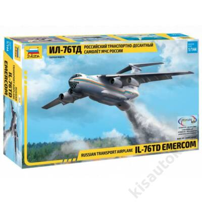 Zvezda 1:144 Russian Transport Airplane Il-76TD Emercom repülő makett