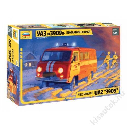 "Zvezda 1:43 UAZ ""3909"" Fire Service tűzoltó makett"